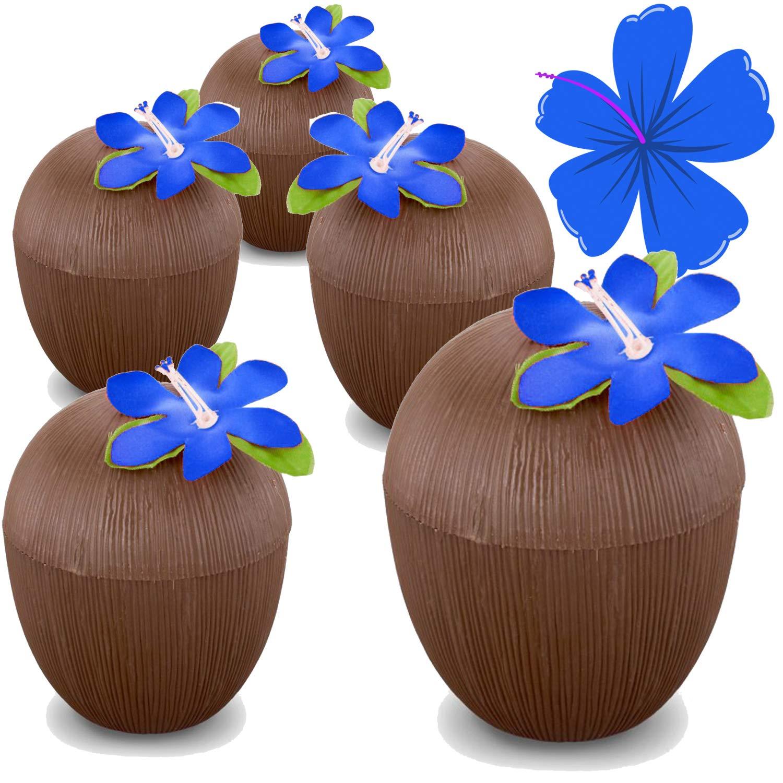 Hogue WS LLC Plastic Coconut Cups (12 PACK) w/ Decorative Flower – Luau Moana Party Supplies – Safe For Children's Hawaiian Tiki Parties (NO STRAWS)