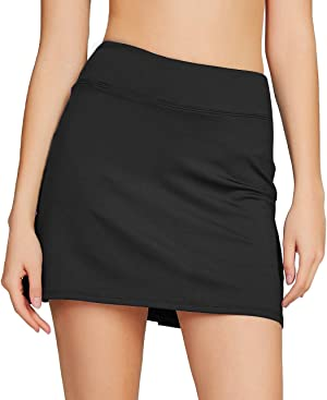 Cityoung Women's Casual Pleated Tennis Golf Skirt with Underneath Shorts Running Skorts bk l