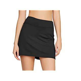 Cityoung Women's Casual Pleated Tennis Golf Skirt with Underneath Shorts Running Skorts bk m Black