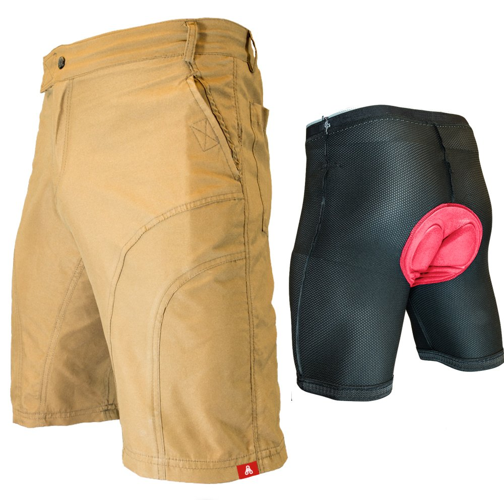 The Pub Crawler - Men's Loose-Fit Bike Shorts for Commuter Cycling or Mountain Biking, with Secure Pockets (Small 28-29'', Khaki - Bundle with Premium Antibacterial G-tex Padded Undershorts)