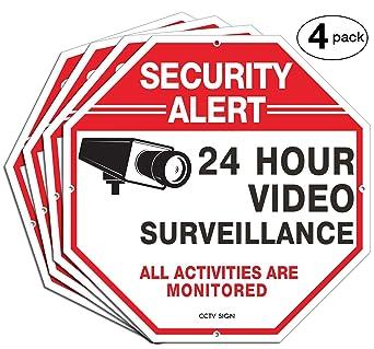Amazon.com: Highfly – Paquete de 4 señales de vigilancia de ...