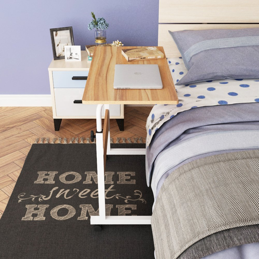 DlandHome 31.4'' Large Size Mobile Side Table, Adjustable Movable w/wheels, Portable Laptop Stand for Bed Sofa, 05#1-80O Oak, 1 Pack by DlandHome (Image #6)