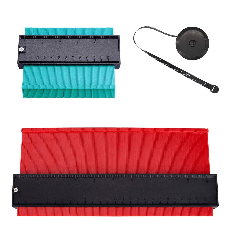 25cm Rojo /& 12cm Verde Ztalee Medidor Contornos Ideal para Azulejos Edge Shaping Madera Medida /& Azulejos laminados Contour Gauge Duplicator