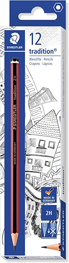 60 BOXED x 2H STAEDTLER TRADITION GRADE PENCILS BOXED DRAWING JOINERY STUDENT
