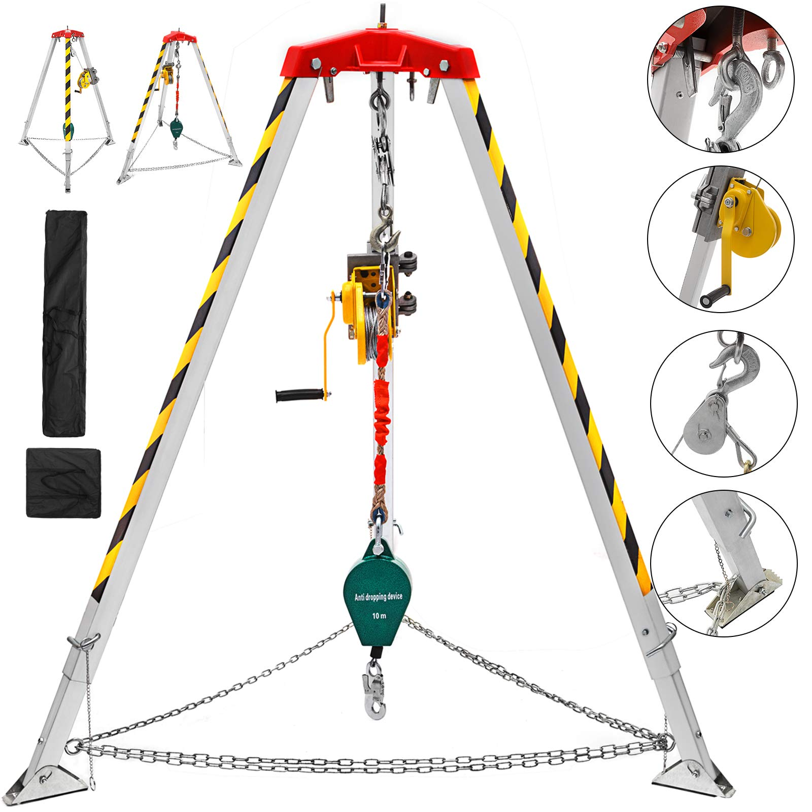 Mophorn Confined Space Kit with 7' Aluminum Tripod 65' Winch 33' Falling Protector and Storage Bags Rescue Tripod Confined Space Kit for Confined Space Rescue (Tripod Kit with Falling Protector)