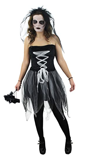 ladies ghost bride halloween fancy dress costume corpse bride witch black white net style dress