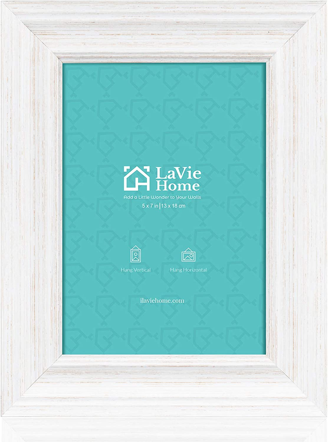 LaVie Home 5x7 Picture Frames (1 Pack, Distressed White) Rustic Photo Frame Set with High Definition Glass for Wall Mount & Table Top Display