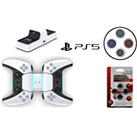 PS5 Twin Charging Dock Station Fast Charging With Blue LED Light FREE Luminous Thumb Grips Dual Sense Controller, LED…