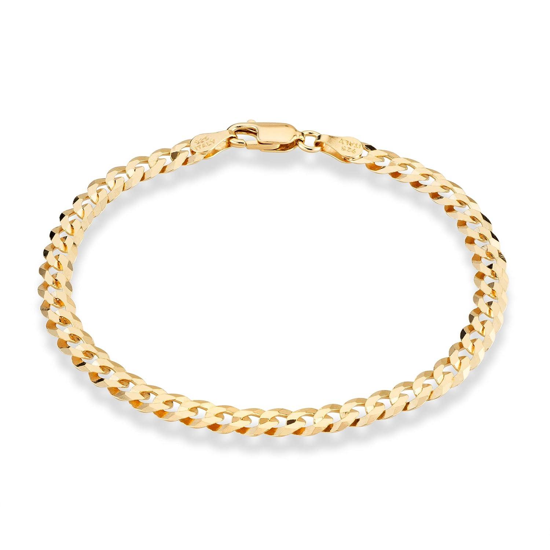 MiaBella 18K Gold Over Sterling Silver Italian 5mm Solid Diamond-Cut Cuban Link Curb Chain Bracelet for Men Women, 7', 8', 9' 7 8 9 (7) Dversa Inc SYB004115