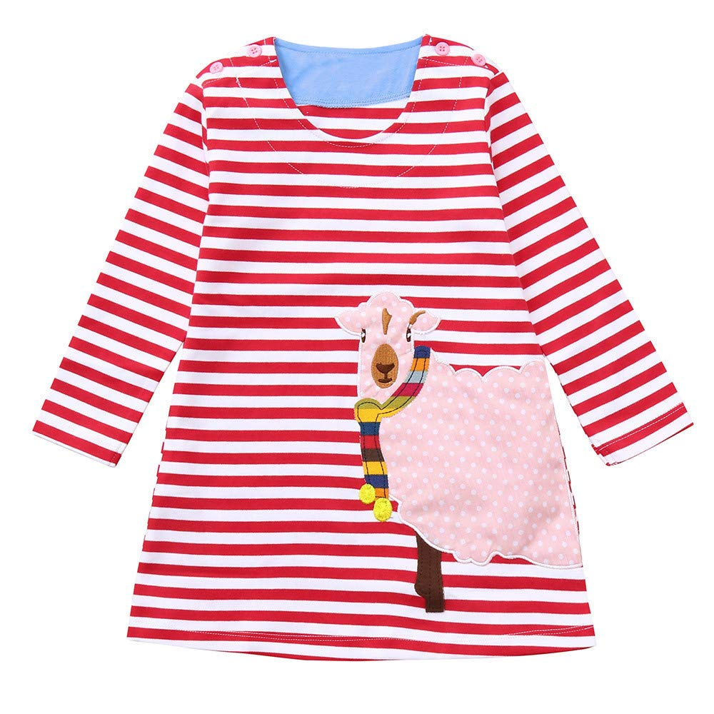 1-7 Years Old, Newest Children Kids Girls Long Sleeved Flower Floral Print Dress Clothing