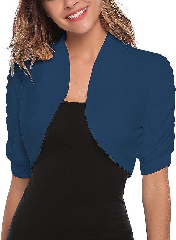 Aranmei Womens Short Sleeve Shrug Sheer Cropped Cardigan Chiffon Bolero Jacket