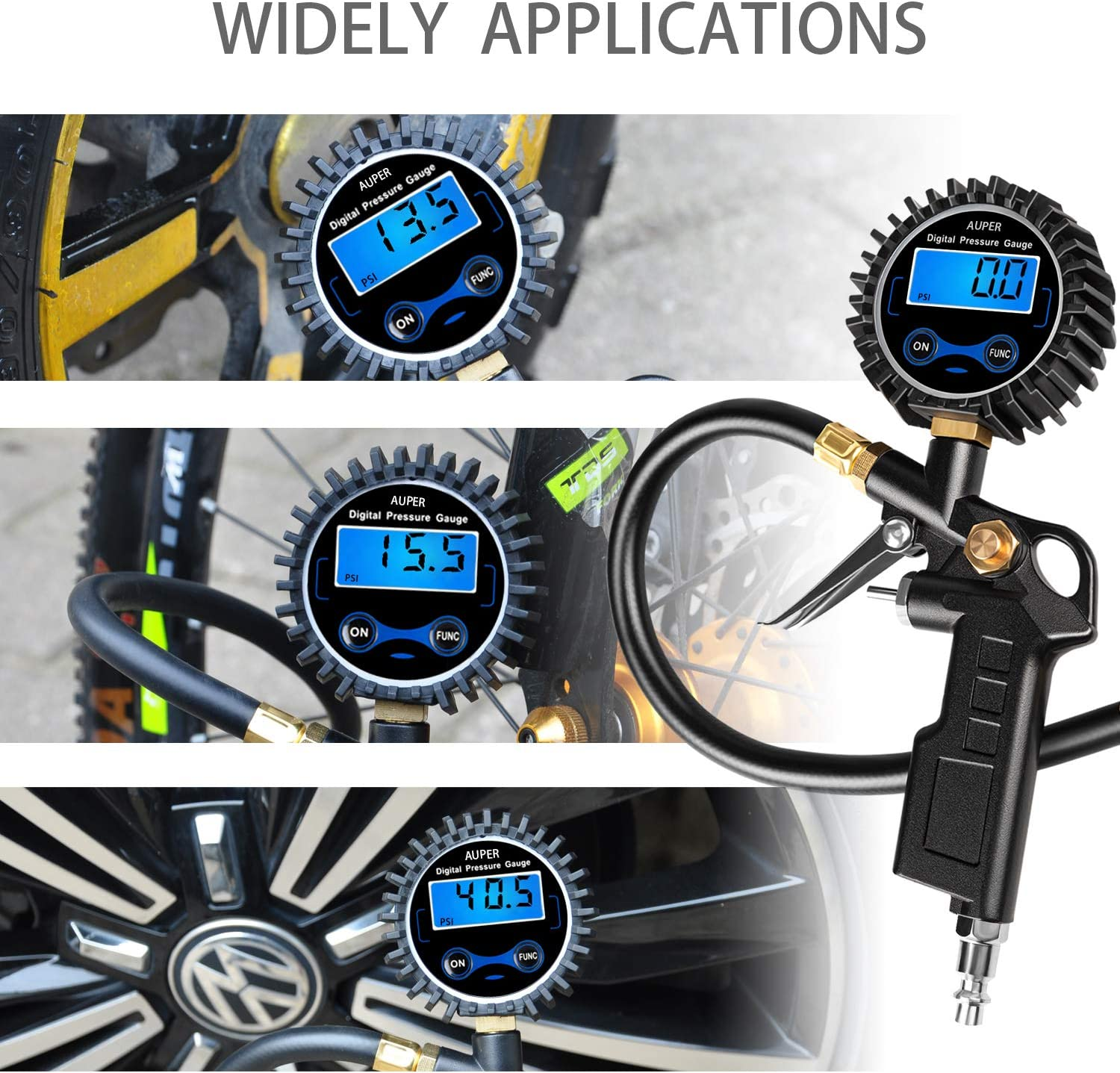 AUPER Digital Tire Inflator with Pressure Gauge Inflate and Deflate 3 in 1 Multifunction with Many Tire Accessories Check 250 PSI High Accurate Heavy Duty Air Chuck and Compressor Accessories