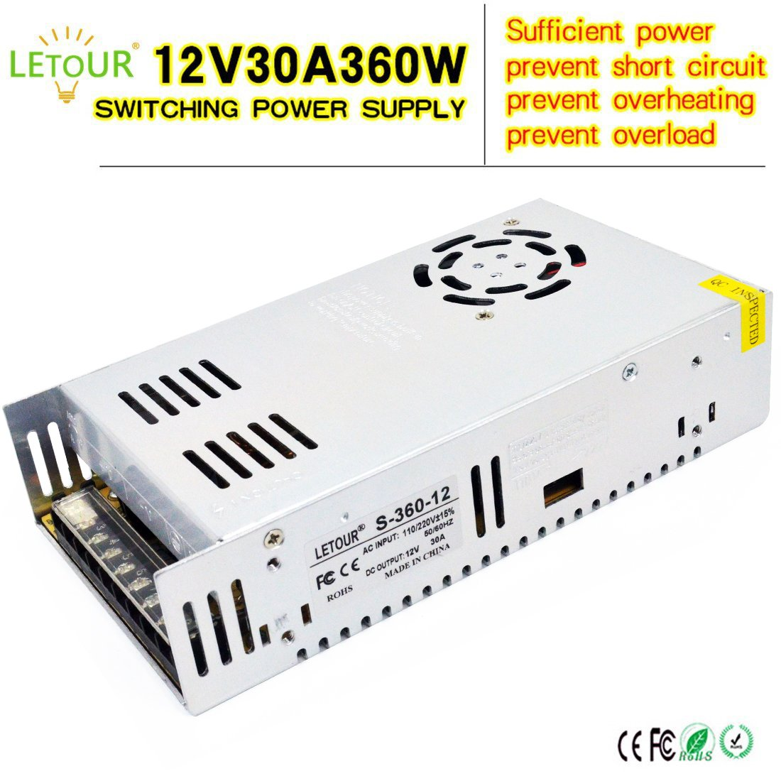 Electronic Project Circuit Dc Ac Voltage Inverter 12v For 110 500w Mosfet Power From To 110v 220v Amazoncom Letour 30a Supply 360w Converter 12volt 30amp 360watt Adapter Led Lightingled Stripcctv