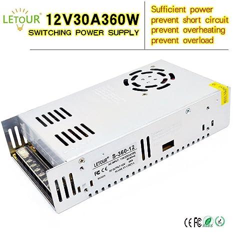 amazon com letour 12v 30a dc power supply 360w ac 110v 220v rh amazon com