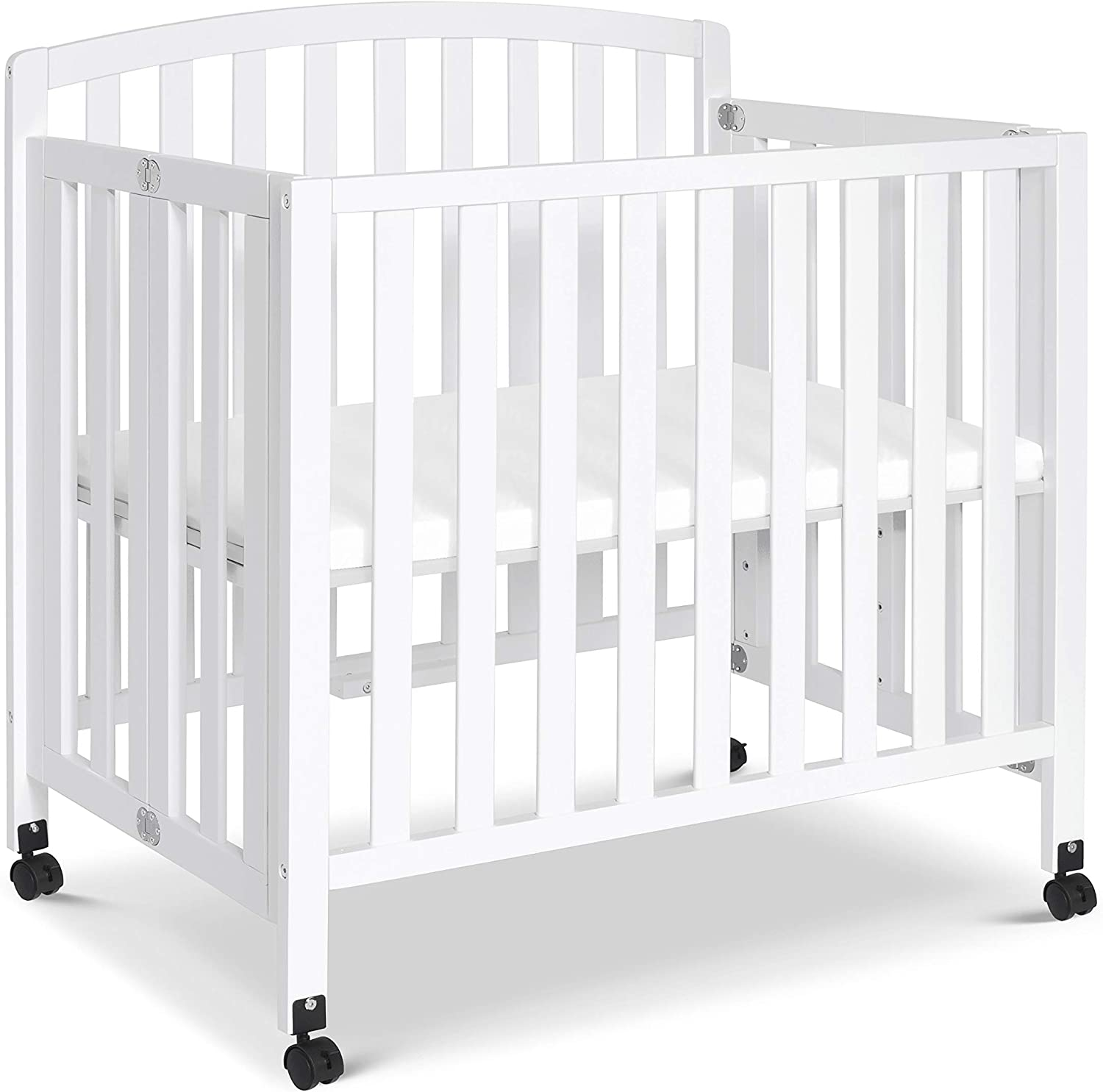 Greenguard Gold Certified DaVinci Dylan Folding Portable 3-in-1 Mini Crib and Twin Bed in White