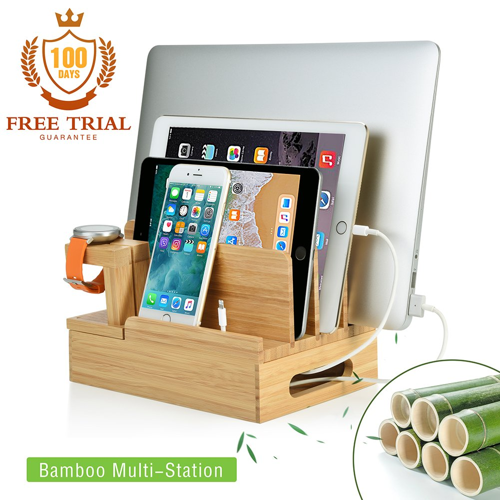 Bamboo Charging Station Stand & Organizer - iOS & Android Charging Station for Multiple Devices - Gift Giving for Smart Phone iPad iWatch Tablets
