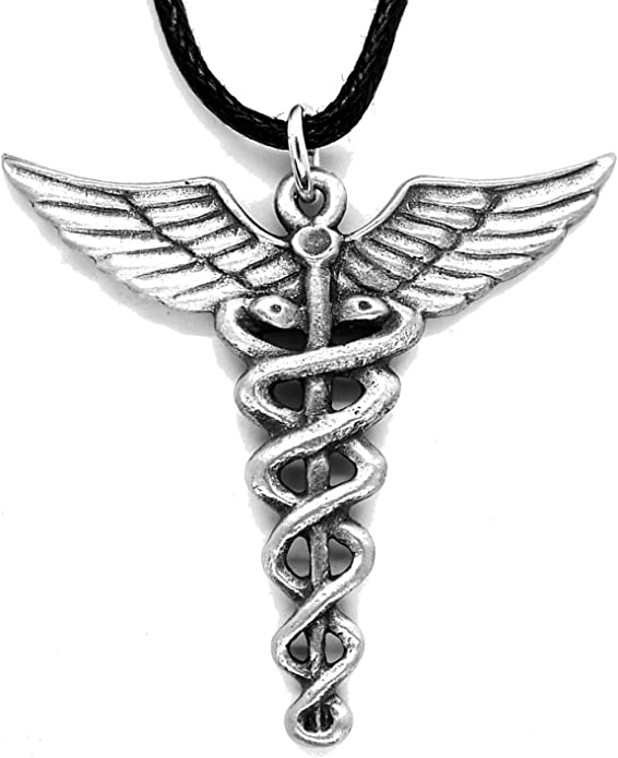 Caduceo colgante de estaño (Personal de Hermes de collar): Amazon ...