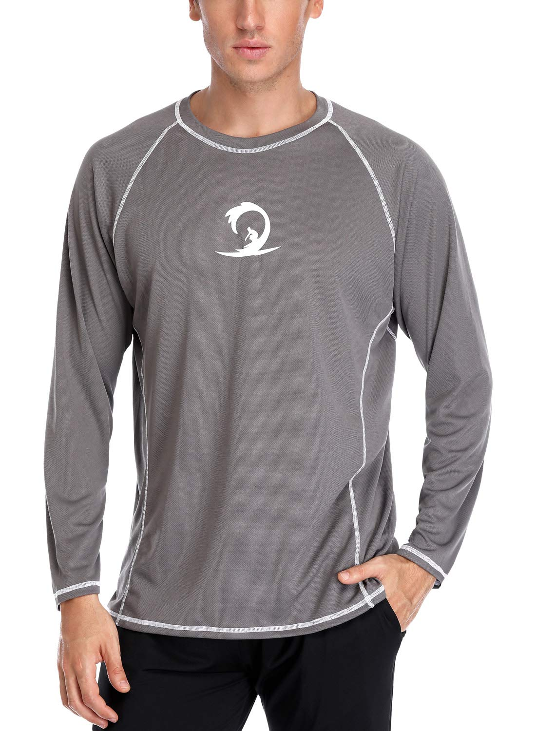 Sociala Men's UPF 50+ Rashguard Long Sleeve Workout T-Shirts L Gray by Sociala
