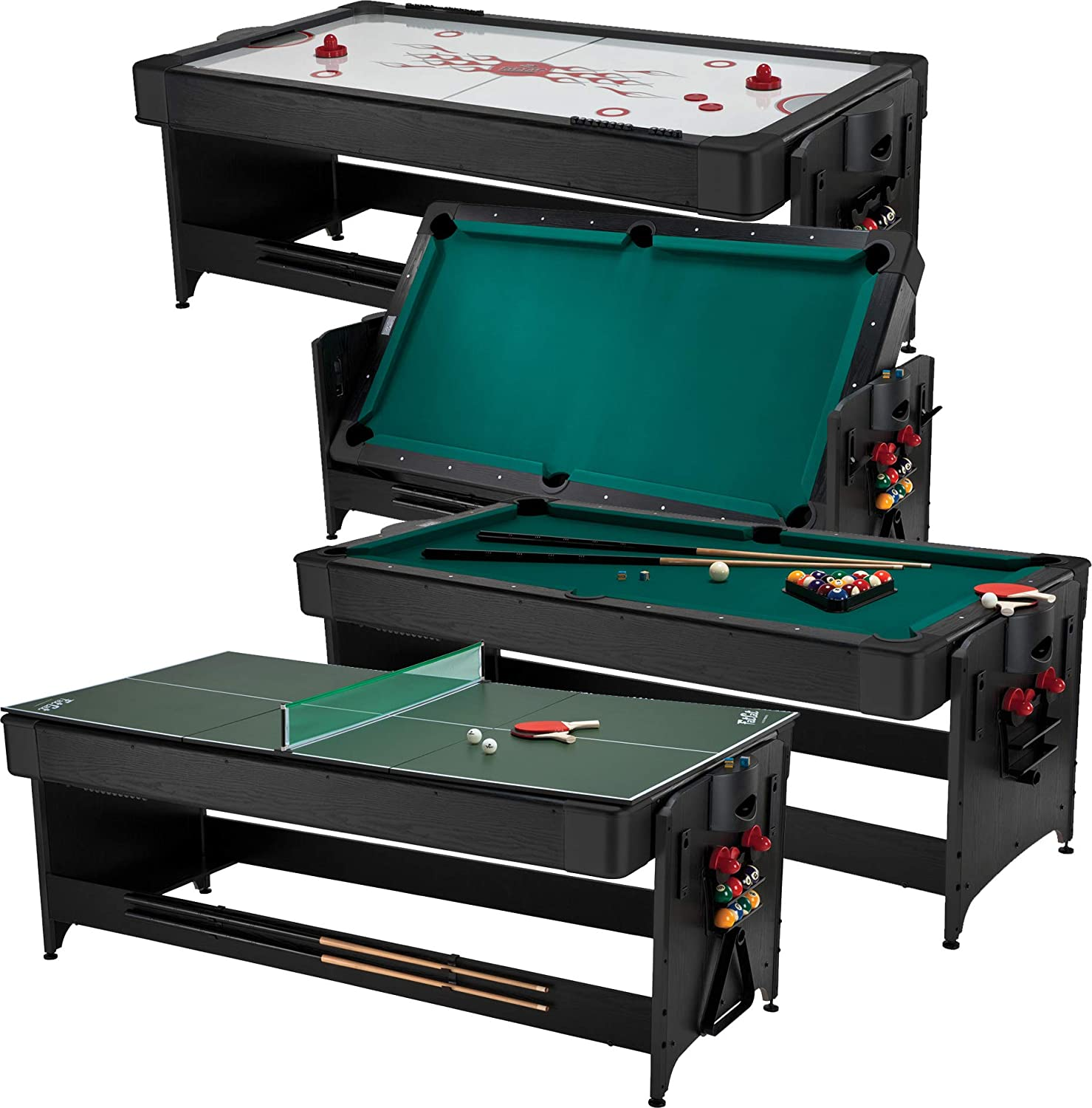 Fat Cat Original 3-in-1 Green 7' Pockey Multi-Game Table - Air Hockey, Billiards and Table Tennis - Green : Tabletop Billiards Games : Sports & Outdoors