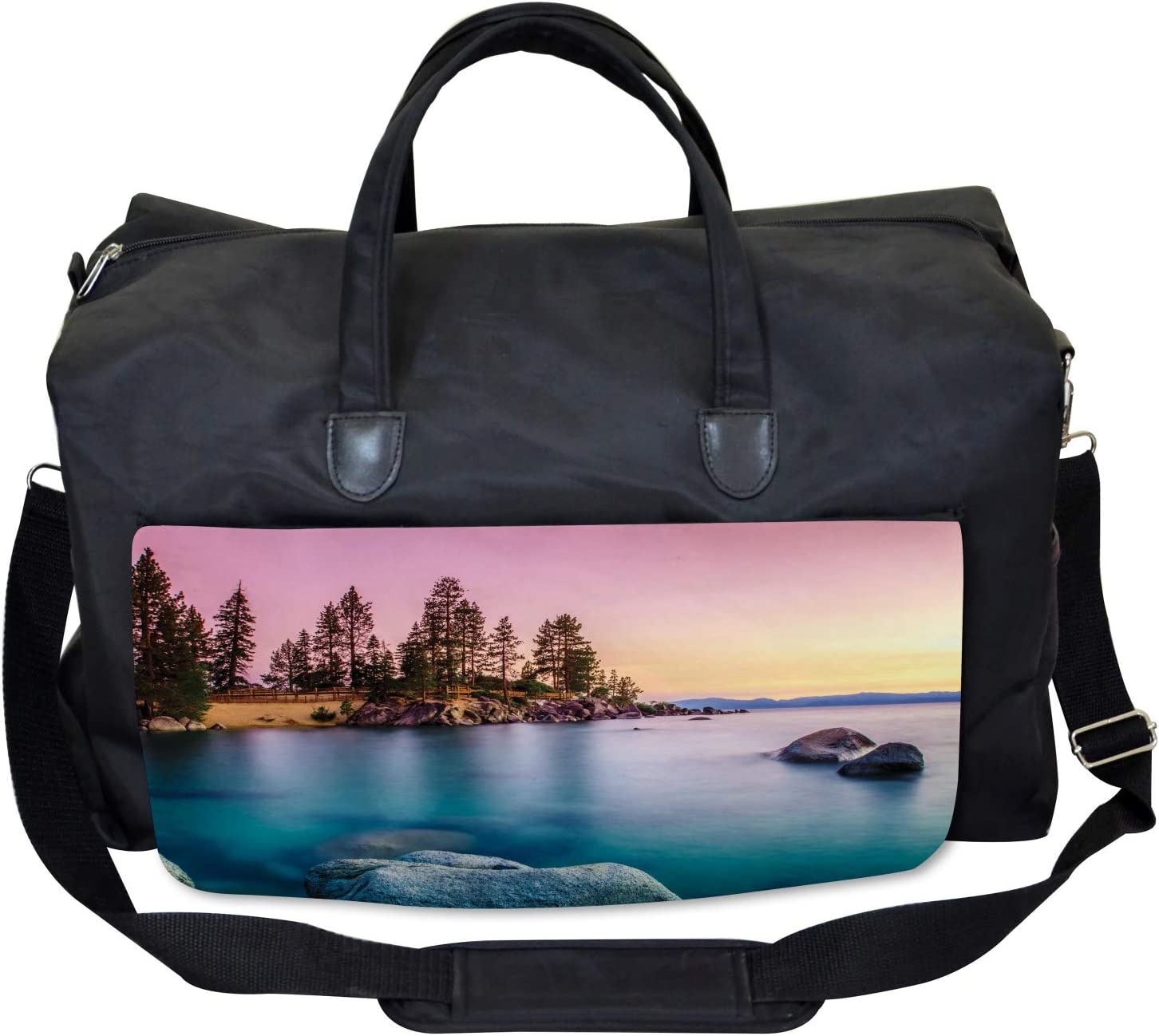 Large Weekender Carry-on Ambesonne Nautical Gym Bag Tranquil Serene View