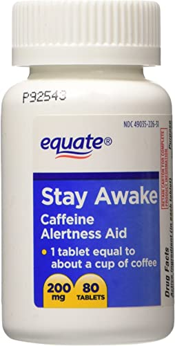 Equate - Stay Awake - Alertness Aid With Caffeine, Maximum Strength, 80 Tablets 200 Mg