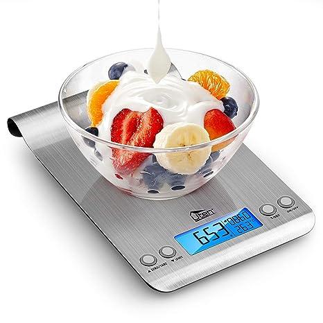 Uten Digital Kitchen - Báscula de Cocina multifunción (Acero Inoxidable, 5 kg, con Pantalla LCD retroiluminada, 2 Pilas Incluidas, 9,25 x 6,5 x 1,06 ...