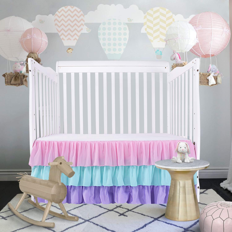 Rainbow Dust Ruffle Baby Crib Skirt Nursery Crib Skirting Toddler Bedding Skirt for Baby Boys or Girls,15''Drop by CO-AVE