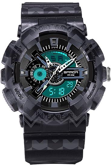 Sanda Digital analógico reloj deportivo Hombres LED Big Face Military cronómetro alarma niños negro: Amazon.es: Relojes