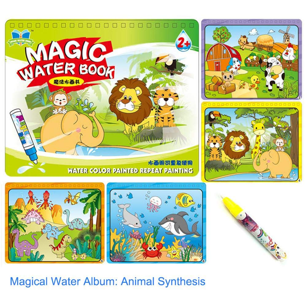 Wattfr Alphabet Aqua Doodle Reusable Water-Reveal Coloring Books Activity Pads Aqua Drawing Painting Travel Toy Kits With Bonus Water Pens For Kids