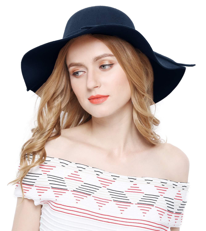 Lovful Women 100% Wool Wide Brim Cloche Fedora Floppy hat Cap,Navy by Lovful (Image #5)