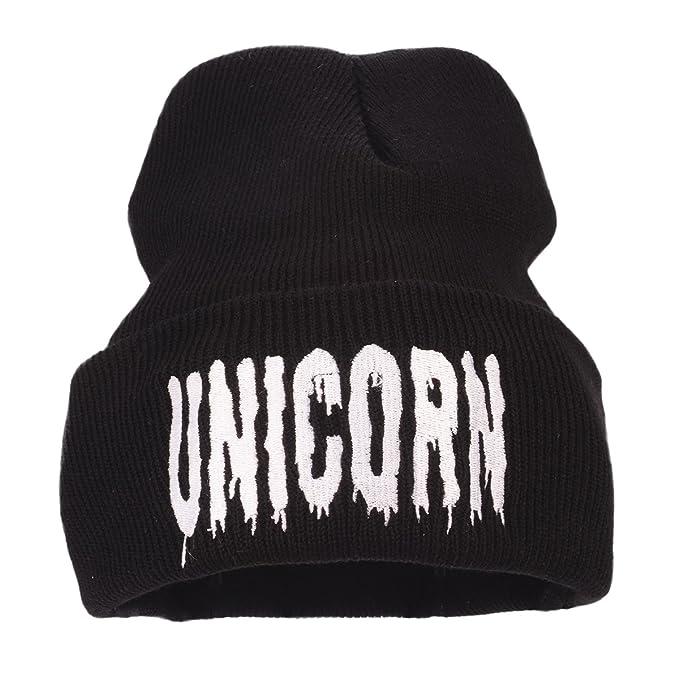 46e0b36adcd Flammi Unisex Stretch Plain Knit Cuff Beanie Hat Skull Beanie Cap (Black  Unicorn) at Amazon Women s Clothing store