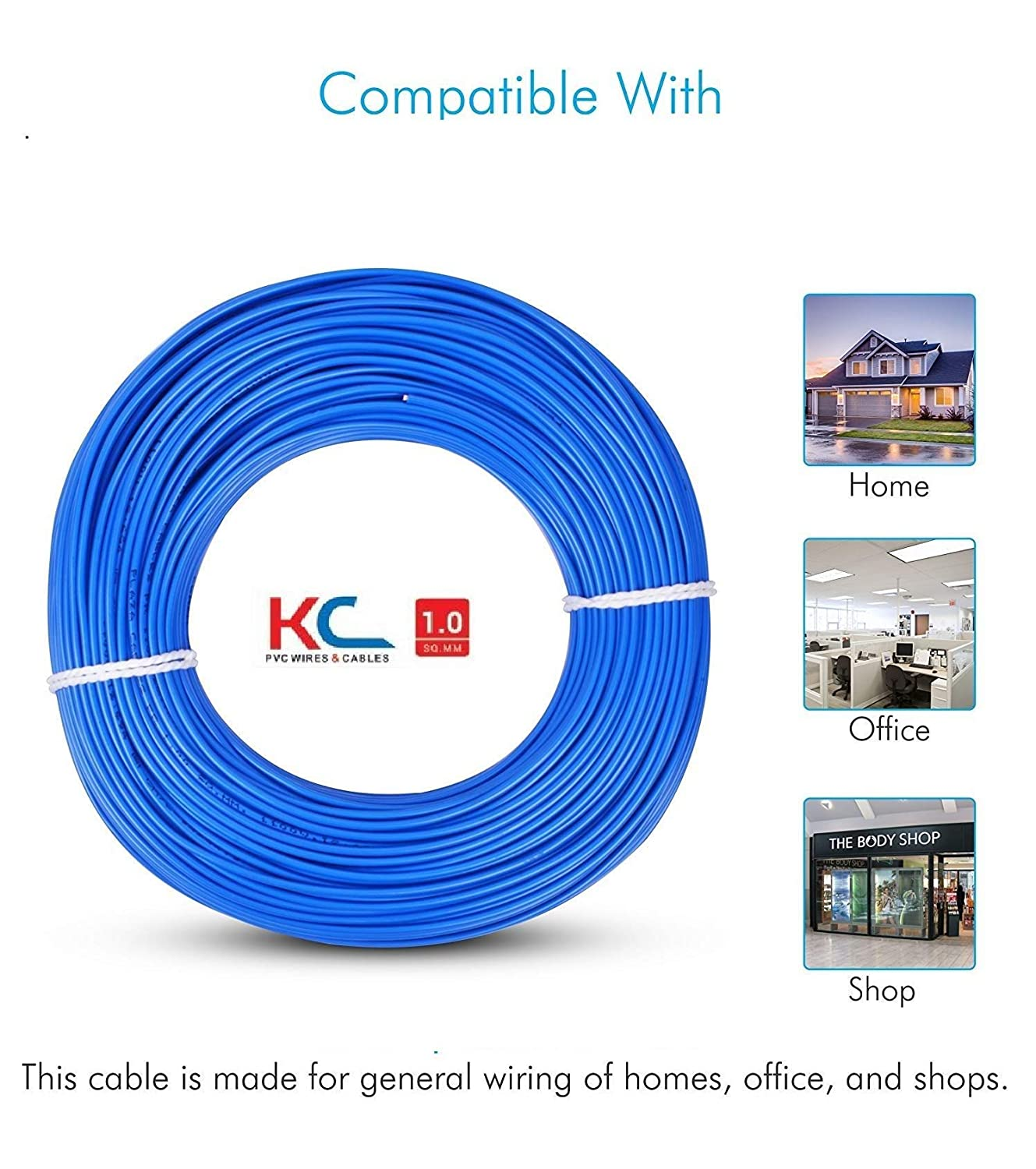 Kc Cab 1 Sq Mm Copper Pvc Insulated Wire 90mblue Home General Wiring Improvement
