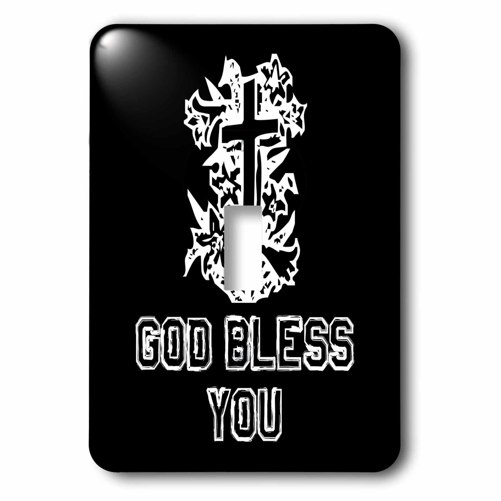 3dRose Alexis Design - Christian - Cross and floral composition. God Bless You text on black - Light Switch Covers - single toggle switch (lsp_286192_1)