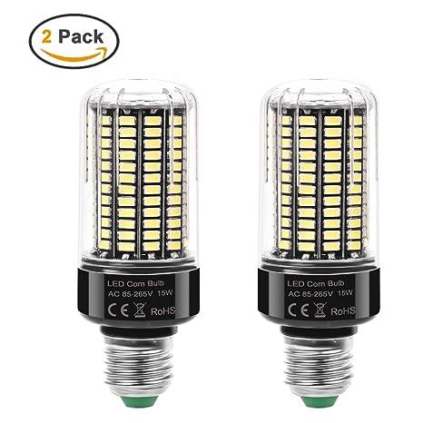MHtech Pack de 2 Bombilla LED E27 15W Lámpara Luz Blanco Frio 6000K Ángulo de Haz