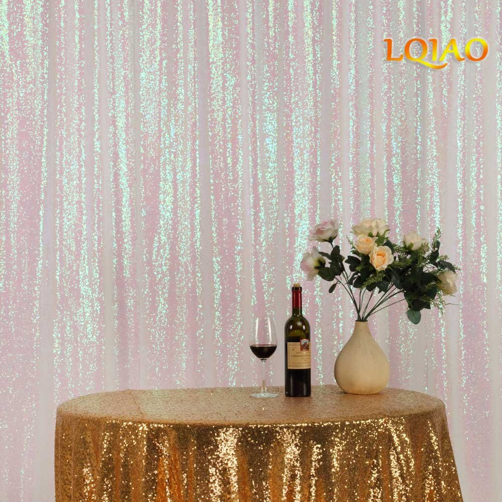 LQIAO Sequin Curtain 10X10FT-Changed White Sequin Backdrop Wedding Photo Booth Door Window Curtain for Halloween Party Wedding Decoration