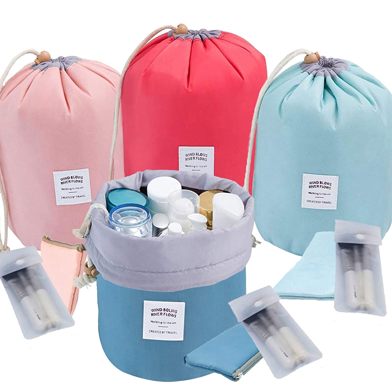 INVODA Cosmetic Bag 4 Pieces Barrel Shaped Travel