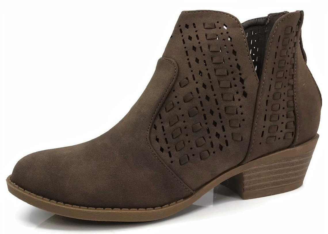 Top Moda Women's Ankle Bootie Perforated Side V Cut Low Chunky Stacked Heel, Brown, 9