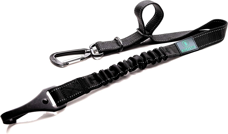 BINEACTIV Cinturón de seguridad para perros con fijación Isofix, mosquetón giratorio de aluminio, amortiguador, longitud ajustable (negro)