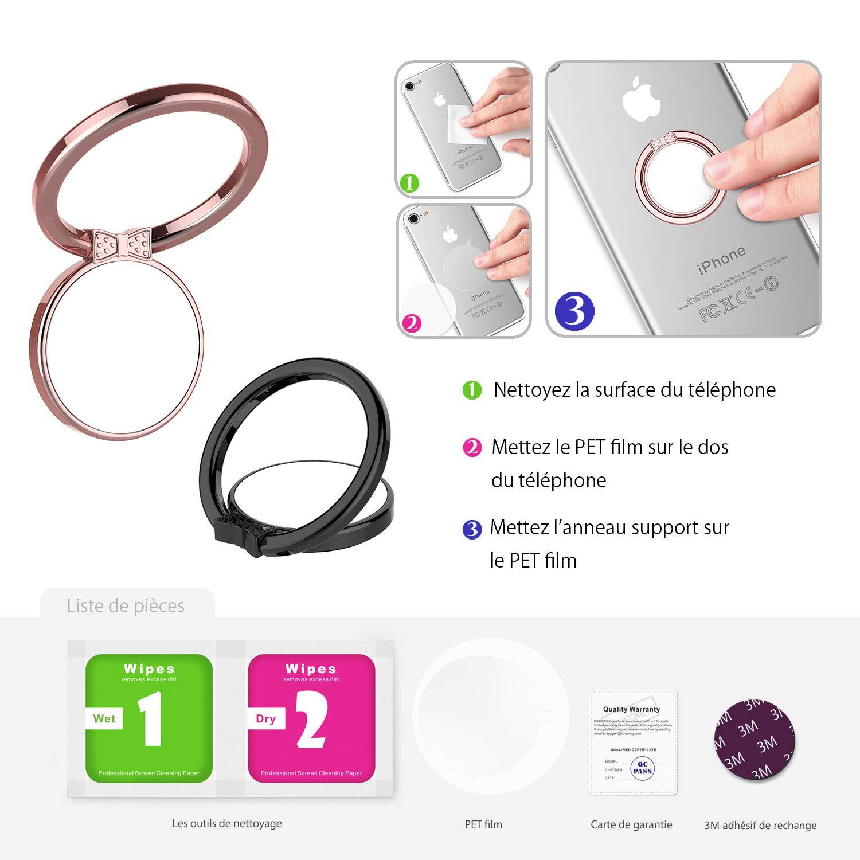 Maijie 2-Pack Anneau Support T/él/éphone Universel Anneau Telephone M/étallique avec Rotation de 360 Degr/és Bague Support Multi-Fonctionnel pour iPhone 6//XR Samsung Galaxy S8 et Plus