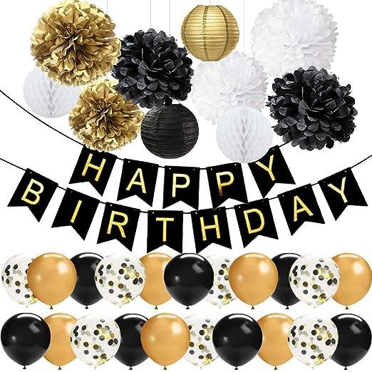 42 piezas decoraciones de fiesta de cumpleaños negro y ...