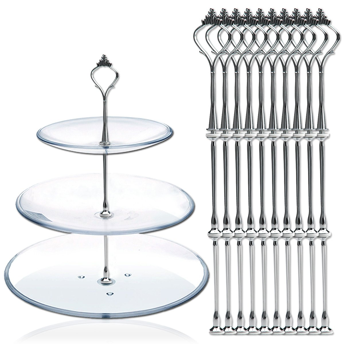 AKORD 10 x Sets 2 or 3 Tier Cake Plate Stand Fittings Silver Plate Stands New KI-8