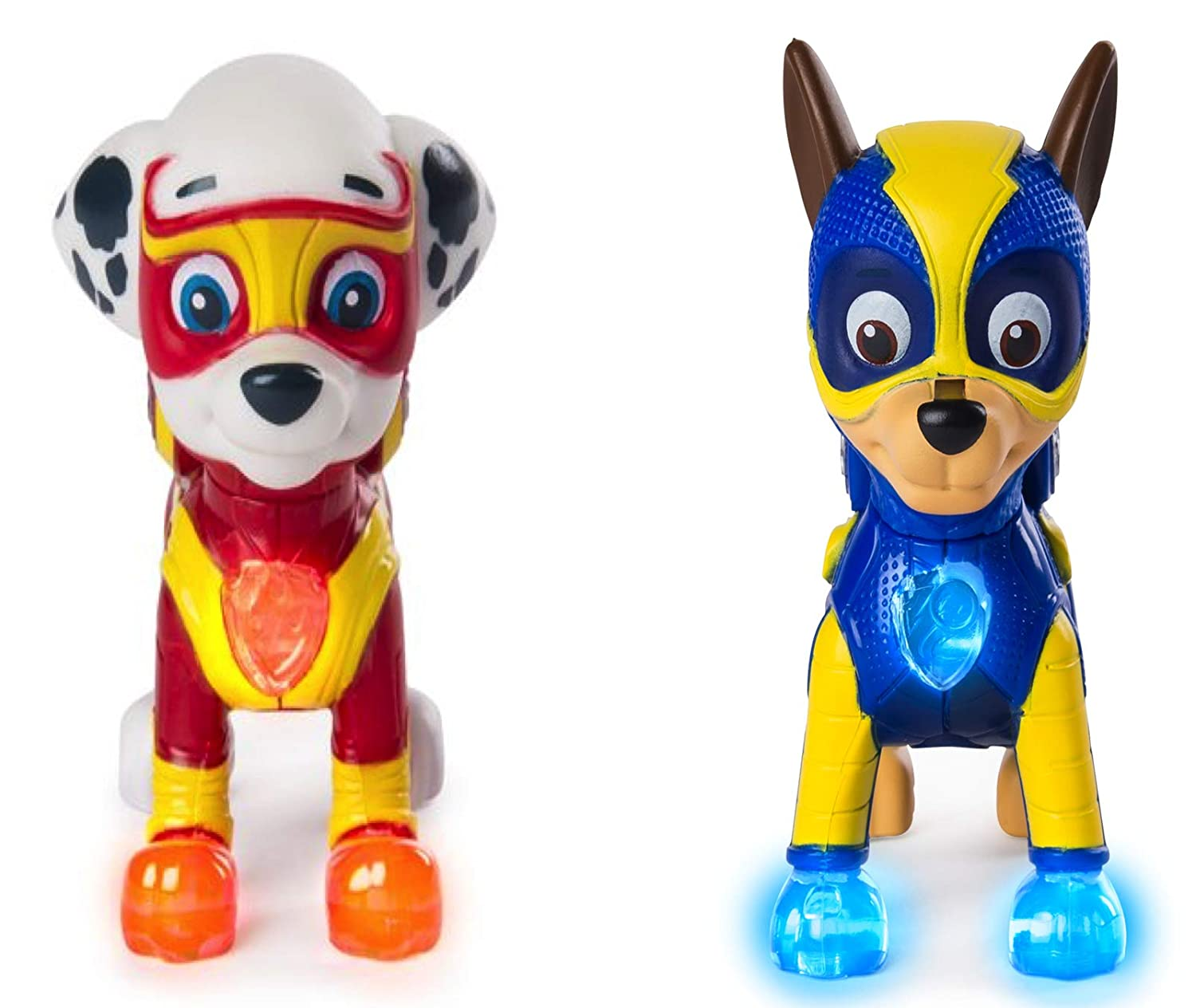 Characters Apparel PAW Patrol Mighty Pups Special Edition Figures with Light up Badge and Paws Marshall and Chase Bundle