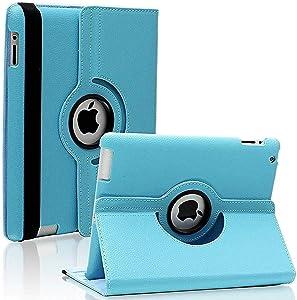 iPad 2/3/4 Case - 360 Degree Rotating Stand Smart Case Protective Cover with Auto Wake Up/Sleep Feature for Apple iPad 4, iPad 3 & iPad 2 (Sky Blue)
