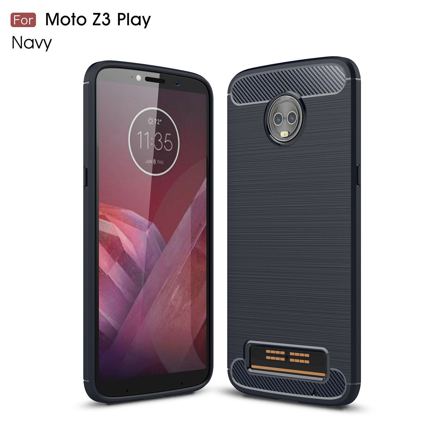 Moto Z3 Case,Moto Z3 Play Ultra Slim Thin Berry Accessory Moto Z3 Play Case Carbon Fiber Non-Slip Cover Scratch Resistant Shock Absorption Soft TPU Protective Case for Moto Z3 Play Black