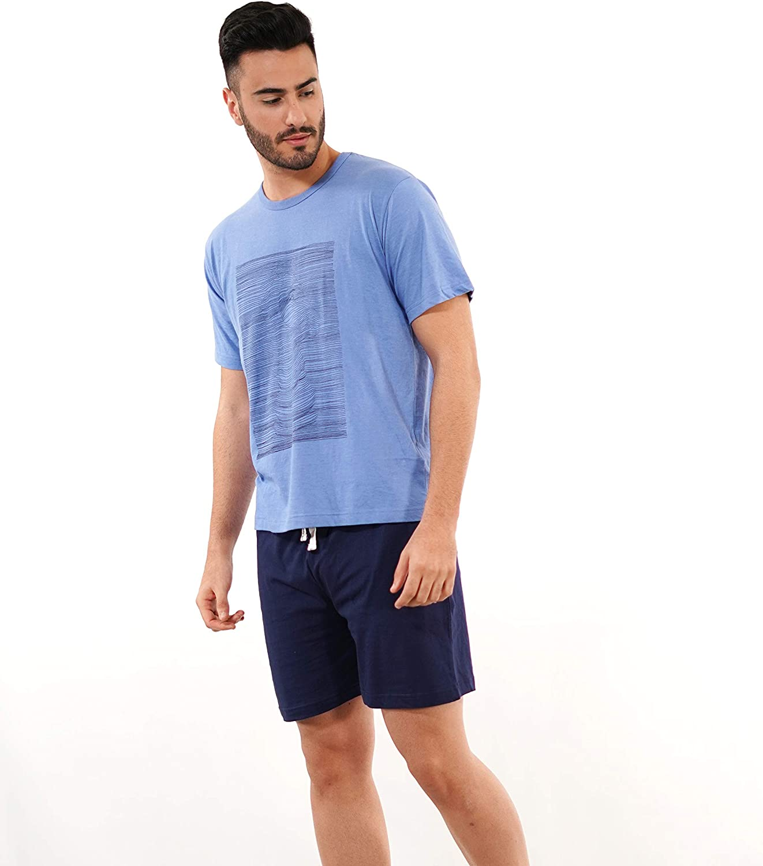 BABELO HOMEWEAR 🏠 - Pijama de Hombre de Verano – Pijama de Hombre 100% algodón Color Azul - Pijama de Verano de Manga Corta y pantalón Corto – Color ...
