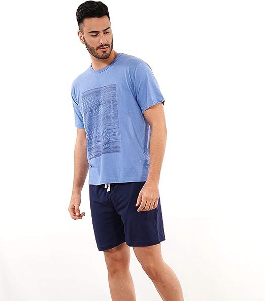 Babelo Homewear 🏠 - Pijama de Hombre de Verano – Pijama de Hombre 100% algodón Color Azul - Pijama de Verano de Manga Corta y pantalón Corto – Color Azul – Moda Homewear: Amazon.es: Ropa y accesorios