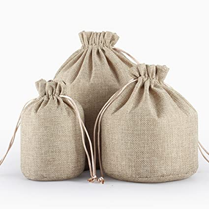 0d6a7bb5c645 tianxiang 10pcs Coffee 7.1x5.1 Round Bottom Linen Fabric Jute Drawstring  Bags Gift Package Bags Natural Burlap Bags with Nylon Drawstring Reusable  ...