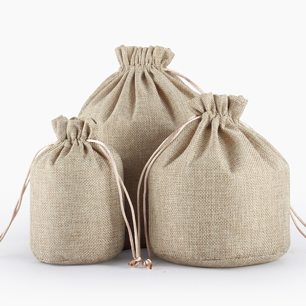 tianxiang 10pcs coffee 7.1x5.1 Round Bottom Linen Fabric Jute Drawstring Bags Gift Package Bags Natural Burlap Bags with Nylon Drawstring Reusable Home Decor