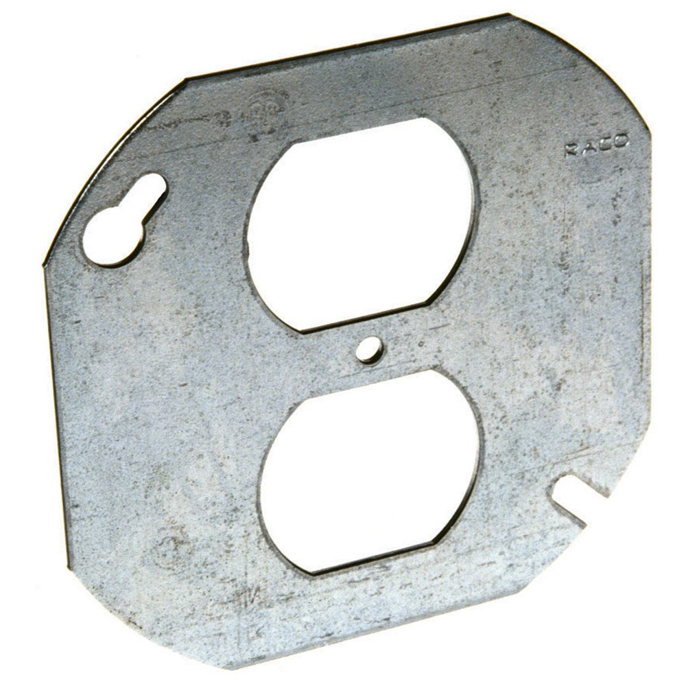 Hubbell-Raco 731 Flat Single Duplex 4-Inch Octagon Cover