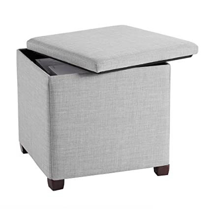 LANGRIA Folding Storage Ottoman With Legs, Premium Linen Ottoman With  Pull Off Lid And